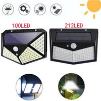태양 빛 야외 LED 벽 램프 100LED 212LED 태양 전원 PIR 모션 센서 램프 방수 야드 보안 조명