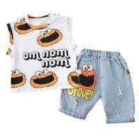 Crianças de verão recém-nascidos meninos roupas crianças roupas infantil terno criança colete desenhos animados menino + jeans definir bebê casual tracksuit