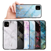 Cas de verre trempé en marbre Retour Shell Shoch Shield Bouclier mobile Protection pour iPhone 6 7 8 XS XR 11 Pro