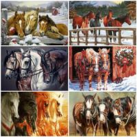 Peinture à l'huile AZQSD By Numbers Paint Horse DIY Unframe acrylique Décor pour la maison Coloring By Numbers cadeau animal peint à la main