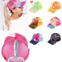 Kadınlar Tie-boya Beyzbol şapkası Moda at kuyruğu Şapkalar Yaz Mesh Nefes Pamuk Kadın Moda Açık Hip Hop Snapback Cap VT1422 Caps