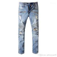 Herren Jeans Vintage Löcher Lange Mitte Taille Mens Bleistift Hosen Mode Hell Blaue männliche Hose Bal Riss Skinny
