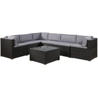 Fast 3-5 days Free Shipping 7-Piece Patio Furniture Set Outdoor Sectional Conversation Set with Soft Cushions SH000027DAA