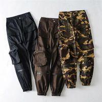 Pantalones frescos floja ocasional camuflaje Impreso bolsillos Moda Mujeres Pantalones deportivos de la calle mujeres del estilo de los pantalones de diseño de Carga