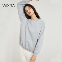 Wixra Women Basic Sweatshirts Solid Women Classic O Neck Long Sleeve 2019 Autumn Winter Velvet Loose Pullover Tops CX200808