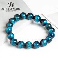 JD High Quality Blue Tiger Eye Buddha Bracelets Natural Ston...