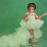 Green High meninas pouco baixo Vestidos Jewel Neck Lace apliques Beading Nível Tulle saia Crianças Pageant vestido infantil Prom Dress