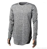 Designer T-shirts Finger Longline courbé Rue solide Couleur Hommes Hauts manches longues Skinny T-shirt des hommes d'automne