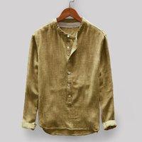 E-Baihui 2020 camice casuali camicie a maniche lunghe di colore solido degli uomini di stile caldo americano europeo e Cotone e Lino shirt A44469