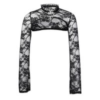 Sexy Lace Short Steampunk Crop Jacket Women Vintage Flare Langarm Bolero Sweatshirts Gothic Street Party-elegante Tops