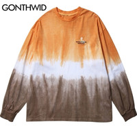 GONTHWID broderie papillon Tie Dye T-shirts manches longues Chemises Streetwear Hip Hop Harajuku T-shirts Casual 2020 Mens Fashion Tops 0921