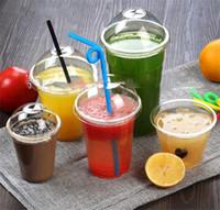 32oz Coupes en plastique sans BPA Coupes claires en plastique avec couvercle gobelets jetables pour boissons froides glacé Thé Smoothie Bubble Boba,