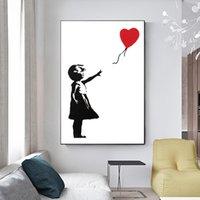 Menina com balão vermelho Banksy Graffiti Art Canvas Pintura de arte de parede preto e branco Poster para sala de estar Decoração de casa Cuadros