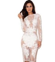Sexy club dress womens mini Bodycon Dress Dress Party Bendage Abiti maniche lunghe Body Lace Patchwork Guarda il vestito
