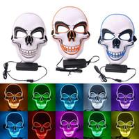 Halloween Light Up Masque Cosplay LED Scary Skull mort Masque EL fil Neon fluorescent Festival Party Masque Décoration DDA435