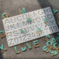 Carta Moldes Número do Alfabeto Molde de Silicone Homemade Brinco Pingente Molde Grande Limpar Molds Epoxy Resina Artesanato Suprimentos