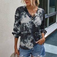 Les femmes Graphic T-shirts de mode V-cou Tie-Dyed Impression Temps libre à manches longues Débardeurs Femme Manche Longue Chemise # JS5