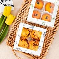 Stobag 10pcs Regalo hecho a mano caja de papel con ventana boda DIY galletas de la hornada paquete proporciona la torta de cajas y embalajes Patisserie