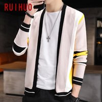 Men's Sweaters RUIHUO Striped Mens Cardigan Knitted Top Autumn Winter Sweater Men Clothing Casual Warm Coats 2021 Arrival M-3XL