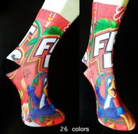 3D Printed мультфильм Mix 26 цветов Женщины Носки Болельщица Длинные носки Девочки Индивидуальный заказ носки для взрослых 15 дюймов Спорт чулок Multicolors