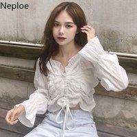 Neploe volante de las mujeres blancas camisas de manga larga de la cosecha de la blusa con cuello en V sólido elegante camisa plisada Blusas coreana dulce atractivo Tops 1A518