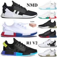 جديد وصول NMD R1 V2 العدائين أحذية مع مربع الرجال النساء الاحذية قزحي الألوان أبيض أحمر لامع الذهب المدربين مدينة مكسيكو