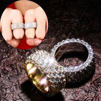 شخصية الذهب الأبيض الذهب بلينغ الماس عشاق مثلج خارج البنصر الفرقة زركون الهيب هوب الزفاف خواتم الخطبة للأزواج