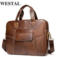 WESTAL Men's Bag Genuine Leather Men's Briefcases 14 Inch Laptop Bag Leather Totes for Document Office Bags for Men Shoulder