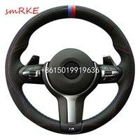Yeni DIY Dikiş-on Siyah Deri Siyah Süet Direksiyon Kapak Tam Fit For BMW F13 M6 F85 X5 M F86 X6 F33