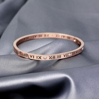 Fashion Jewelry Bangles, Rose gold titanium steel bracelet, Roman digital Do not fade.