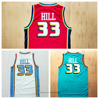 Auténtico Mens Vintage Grant Hill Completo Bordado Classics Classics Premium Basketball Jersey White Green Tamaño rojo S-2XL Envío Gratis