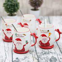 크리스마스 선물 만화 컵 새로운 산타 클로스 인쇄 뚜껑 스푼 크리 에이 티브 사랑스러운 도자기 컵 사무실 귀여운 패션 커피 컵 머그컵 VT1706