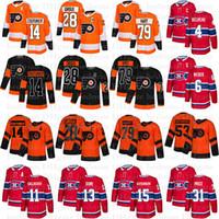 필라델피아 전단지 유니폼 79 Carter Hart 28 Claude Giroux 14 Couturier Montreal Canadiens 31 가격 11 Gallagher 13 Max Domi Hockey Jersey