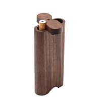 Wood Dogout Case Natural Handmade Wooden Dugout With Ceramic One Hitter Metal Cleaning Hook Tobacco Smoking Pipes