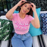 Casual LVINMW algodón rosa impresión de la letra O Cuello de Cultivos Top 2020 atractivo flaco manga corta camiseta Mujer Streetwear club Tops Primavera