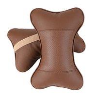 2 ADET suni deri araba yastık koruması boyun / araç kafalık delik kazma tasarım / oto malzemeleri boyun yastığı