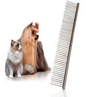 19X4cm Tamaño dientes L acero inoxidable del gato del perro mascota cachorro mascotas peine del cepillo de fila doble peine de pulgas piel caída del cabello y estética Trimmer Rake