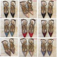Nuevas bombas Bombas zapatos de boda mujer tacones altos sandalia desnuda moda tobillo correas remaches zapatos sexy tacones altos zapatos nupciales 35-45