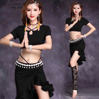 Stage Wear Donne Belly Dance Costume Sexy Practice Set 5 Colori Oriental Bollywood Ballywood Dancing Modal Top Gonna 2pcs Vestiti Abbigliamento Adulto