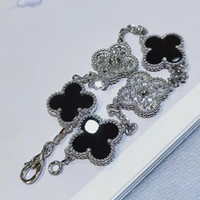 S925 sivler with black agate flower with five flower nature ...