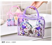 PVC 마무리 꽃 투명 가방, 목욕 화장품, 야외 여행 보관 방수 세제