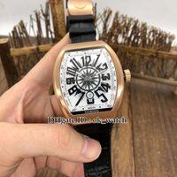 نسخة جديدة Vanguard V45 SC DT Yachting Mene Automatic Watch Men's Collection Rose Gold Case Black Leather Rubber Strap Gents Sport Watches