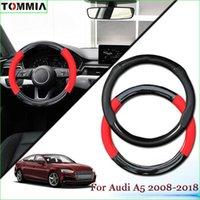 Anti-Slip Carbon Fiber Рулевое управление Кожа автомобилей колеса Обложка для Audi A5 2008-2018