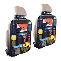 مقعد السيارة الخلفي منظم متعدد جيب حقيبة التخزين حامي شاشة تعمل باللمس لوحي حامل التخزين المنظم مكافحة ركلة ماتس للأطفال