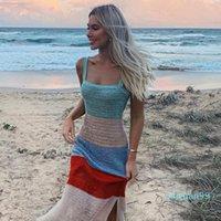 Heißen Verkaufs-Mitte Kalb Mode Kleidung Drei Farben Lässige Kleidung der Frauen-Sommer-Strand-Riemen Sitzen Kleider Kontrast Riemen ärmellosen