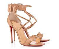 أناقة مصمم المرأة الصيف فستان أحمر أسفل الأحذية المسامير 100MM صنادل جلدية الأسود عاري السيدات مضخات الحزب فستان الزفاف 34-43