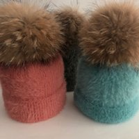 LVTZJ New Hüte Winter Lässige realer Pelz Nerz Pompoms Hut für Damen Kinder Frühlings-Fest Baumwolle Wolle Warm Skullies Beanies Hut