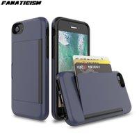 Nouveau ID de carte de crédit Porte-monnaie à sous couverture pour l'iphone 6 6s 7 8 plus SE 2020 PC + TPU anti-choc hybride Support Flip Case