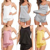 Шелковые пижамы камзол жилет комплект пижама шорты Комплект Плюс Размер Женская одежда Pijamas Брюки Костюмы вечера Переодевание девушки Ladies 7 5wya C2