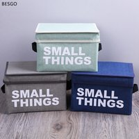 Portable Letter Print Cotton Linen Foldable Storage Bag Folding Clothes Storage Baskets Box Cloth Toy Snack Storage Box Small BH0801 BC